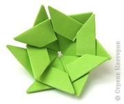 """Вся работа выполнена из модулей, сложенных из прямоугольников 4х6 см по схеме треугольный модуль оригами. """"Цветы """".1..."""