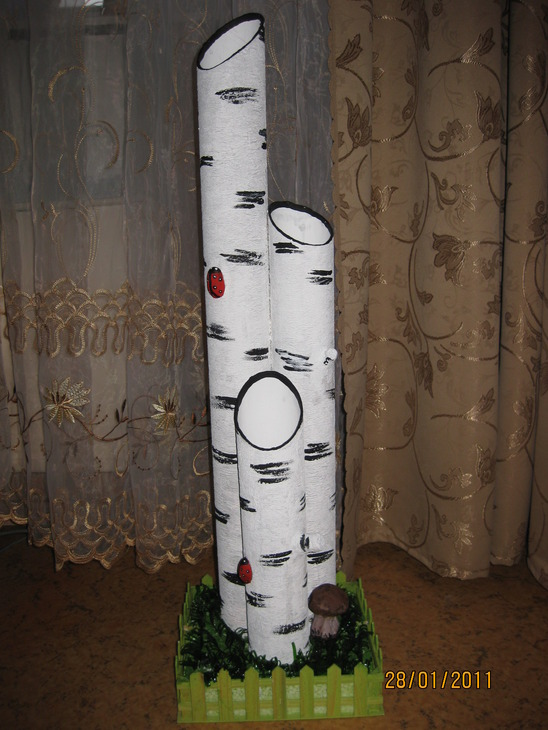 Дерево из пластиковой трубы своими руками