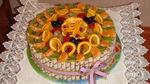 Вафельные трубочки.  Лента для подарков.  Торт.  Украшение торта.